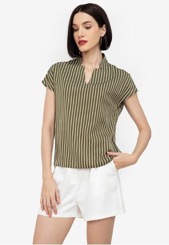 ZALORA WORK multi Mandarin Collar Stripes Blocking Shirt 2C0B4AA5062F6DGS_1