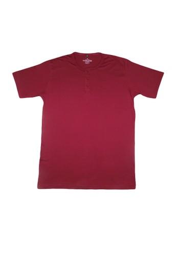 Hangdeb red Short Sleeve Henley T-Shirt BD144AAF432363GS_1