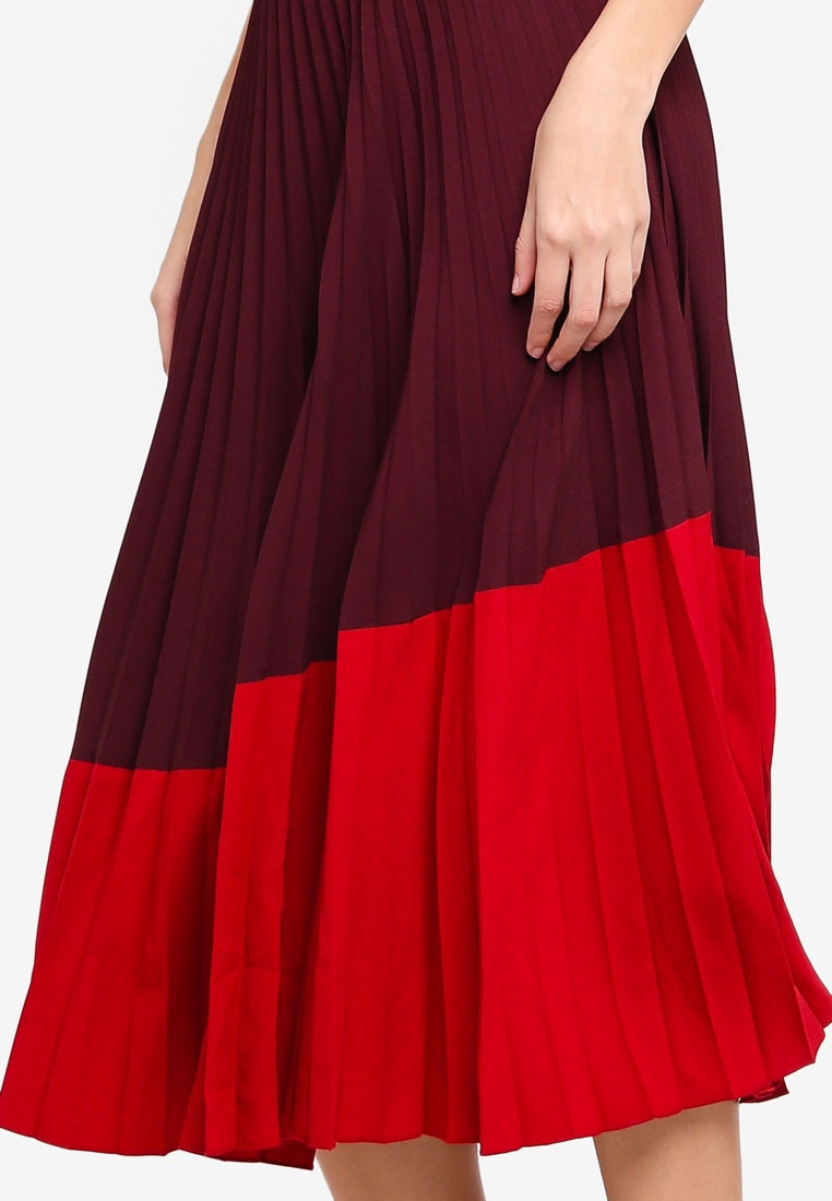 Colour Pleated WAREHOUSE Skirt Block Berry dXpqYO