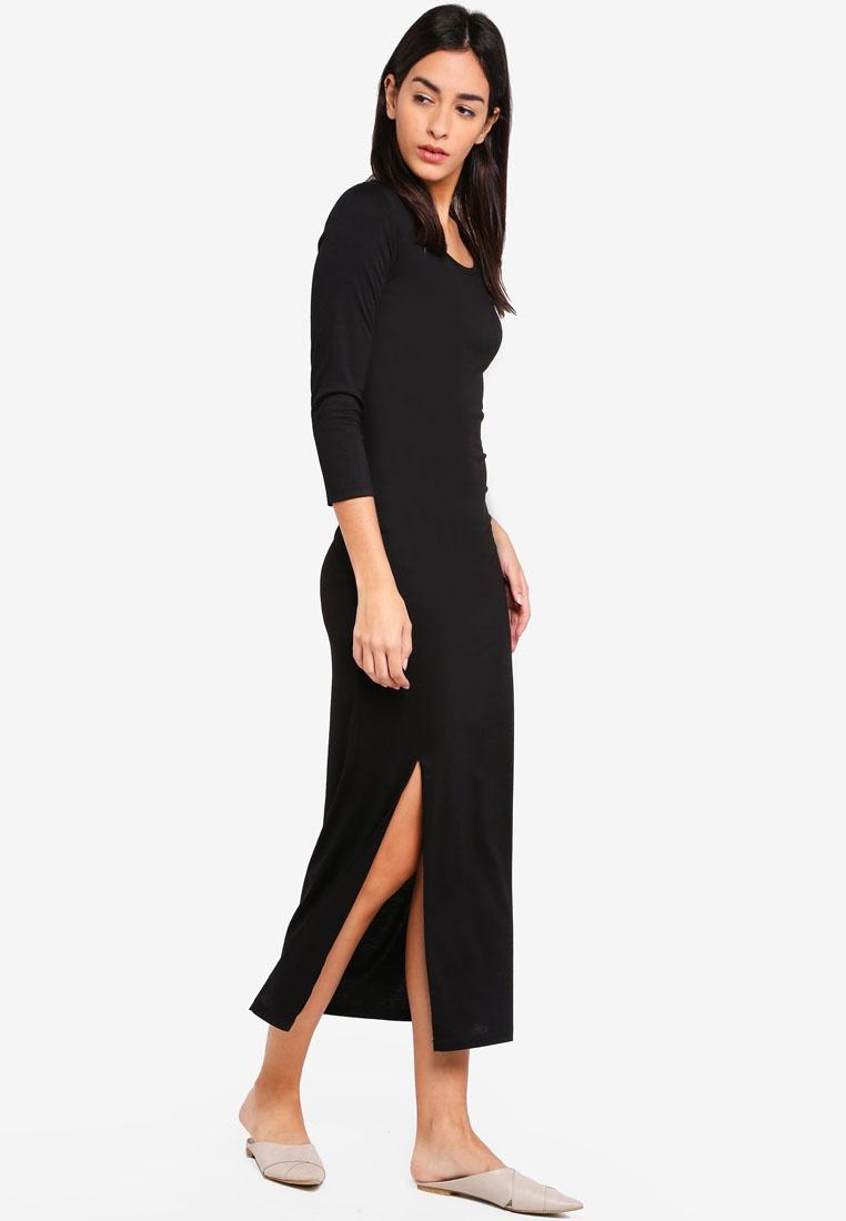Basic Neck Slit Scoop ZALORA Maxi Black With Dress SSxHwrq7O