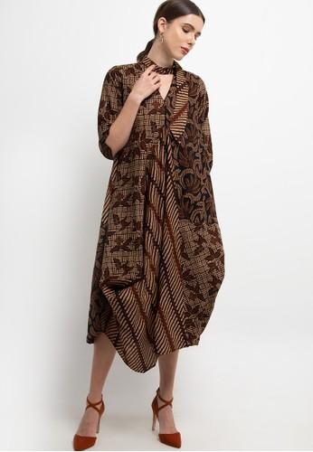 Batik First brown Dress Maxi CS3 Asymmetric TieButton+Lining 57A46AAD829E28GS_1