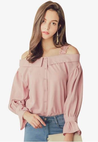 Eyescream pink Lace Strap Off Shoulder Button Blouse 25912AA917FFF2GS_1