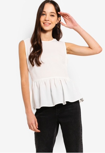 Something Borrowed white Peplum Top EF1C6AAB5C66B6GS_1