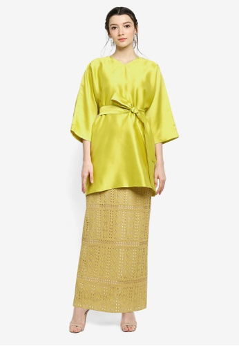 Zalia yellow Kimono Sleeve Top with Lace Skirt E4374AA030F2BDGS_1