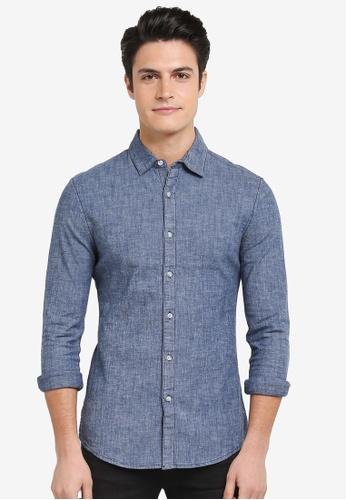 Topman blue Denim Chambray Muscle Shirt 1720AAA77CA00EGS_1