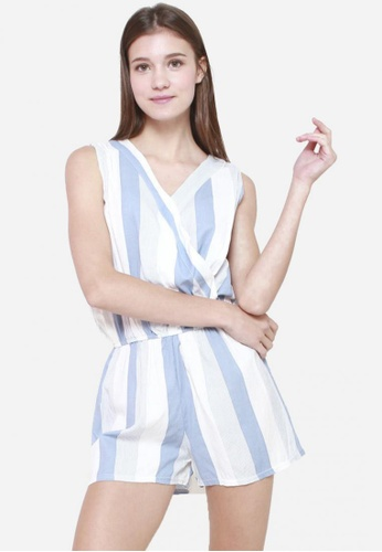 Sophialuv white and blue Down The Line Striped Romper in Blue C74DBAA073C0D2GS_1