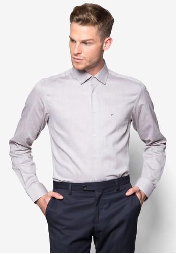 素色合身長袖襯衫,zalora 順豐 服飾, 襯衫