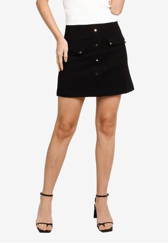 Hopeshow black A-Line Rivet Button Fly Mini Skirt 1665DAA9D0E84FGS_1