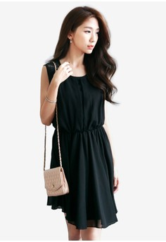Sleeveless Dress with Lace Panel