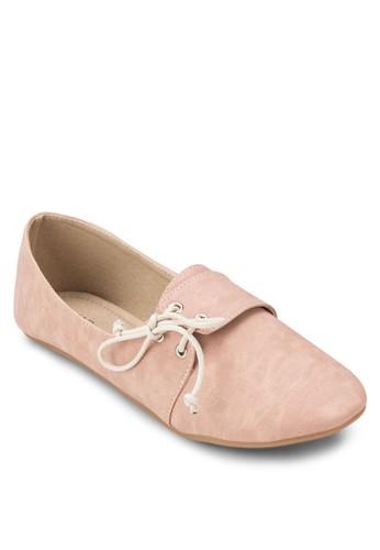 PUzalora鞋 穿孔繫帶平底鞋, 女鞋, 鞋