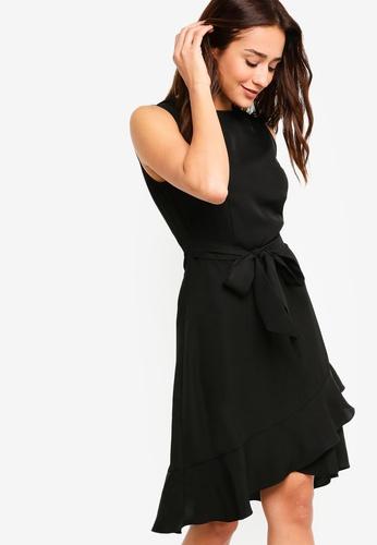 ZALORA black Flounce Dress With Overlap Skirt 3AAE9AA9454CD4GS_1