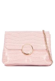 76d24470025 Dune London pink Bayer Croc Foldover Clutch 9348DAC02BA4F3GS_1