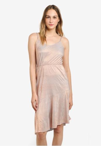 WAREHOUSE gold Metallic Cami Midi Dress WA653AA0RSQ4MY_1