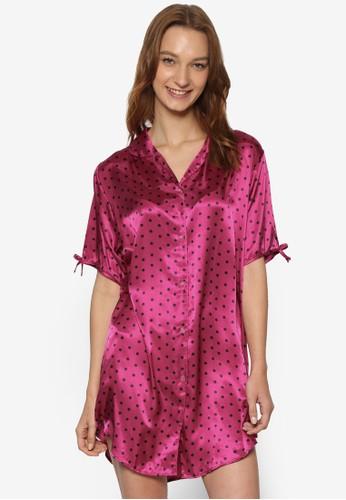 綢緞印花襯衫連身裙, 服飾, 睡衣, 睡裙和連身內esprit outlet 台中衣