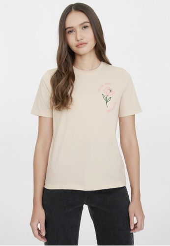 Pomelo beige Fresh And Blooming Organic Cotton Graphic Tee - Cream 728DCAA8BFBD42GS_1