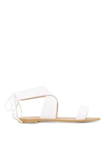 ZALORA white Cross Strap Sandals 9E7F2SHA3AEBE4GS_1