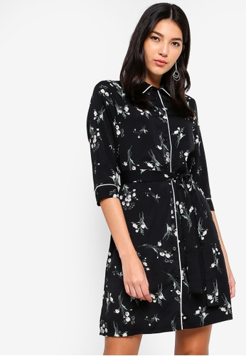 ZALORA black and multi Shirt Dress With Self Tie AD707AAA2A988DGS_1