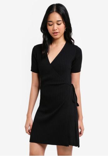 Something Borrowed black Knitted Wrap Mini Dress 63750AAA234B05GS_1