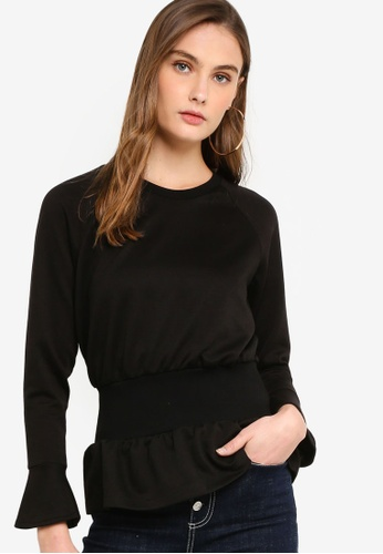 Guess black Guess Cinched-Waist Bell Sleeve Pullover Top C5525AAE5A260DGS_1