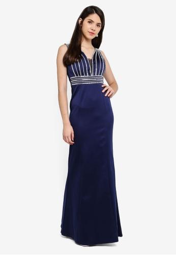 Goddiva navy Stone Work Evening Maxi Dress 24E6AAA820FC33GS_1