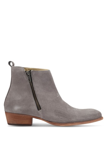 Topman grey Int South Zip Boots TO413SH0T1JCMY_1