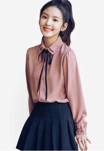 Shopsfashion pink Tie A Bow Shirt 871B7AA643C241GS_1