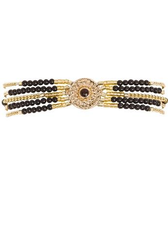HIPANEMA black and multi and gold Multi chains beaded bracelet Shogun black 758B7AC0040158GS_1