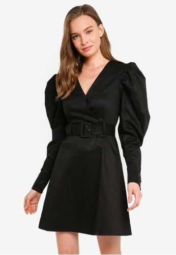 URBAN REVIVO black Belted Mini Dress FA7FEAAC65E9B7GS_1