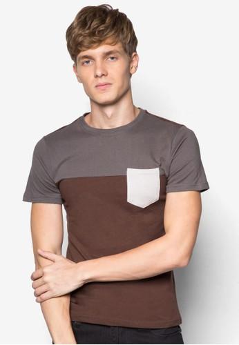 撞色口袋T 恤esprit服飾, 服飾, T恤