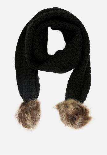 London Rag black Scarf with Faux Fur Pom Poms 7DB3CAAC8F2C2AGS_1