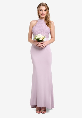 ZALORA purple Bridesmaid Halter Mermaid Maxi Dress 9254AAAA2B9136GS_1