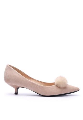 Twenty Eight Shoes 毛毛球尖頭猄布中踭鞋295-31 E75C5SH5E3A6DAGS_1