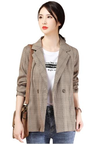 A-IN GIRLS 褐色 時尚格紋西裝外套 A4329AAFC73267GS_1