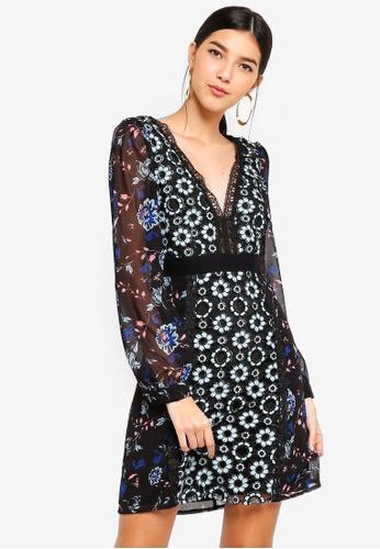 Little Mistress multi Mixed Print Shift Dress 8A89BAACE011ACGS_1