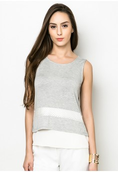 Lace Det Casual Sleeveless Top