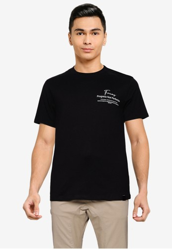 UniqTee black Focus Graphic Tee With Side Label 055CDAA610F706GS_1