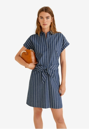 MANGO blue and navy Bow Cotton Dress 700FBAAF51E0B2GS_1