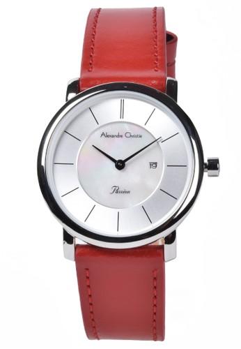 Alexandre Christie red Alexandre Christie - Jam Tangan Wanita - Silver - Red Leather Strap - 2738LDLSSSL 0B2CAACA2F1D00GS_1