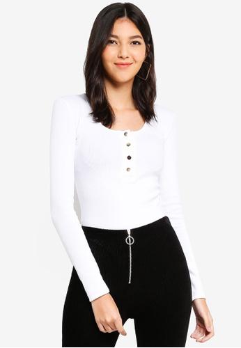 de55426ff Buy MISSGUIDED Rib Long Sleeve Popper Bodysuit Online