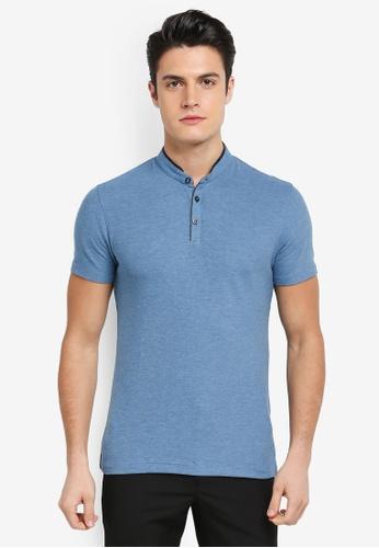G2000 blue Woven Stand Collar Polo Shirt E5E31AA0A369BFGS_1