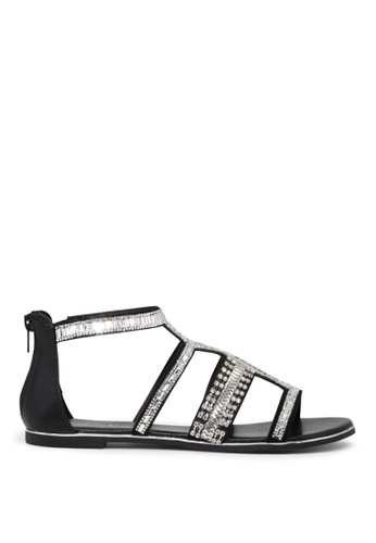 London Rag black London Rag Sue Women's Black  Synthetic T-strap Open Toe Flat Sandals SH1607 FF0EDSH71C0721GS_1