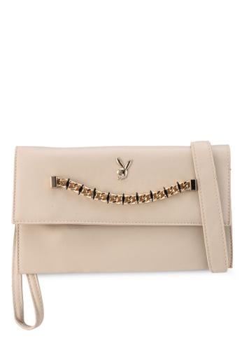 PLAYBOY BUNNY beige Chained Gem Clutch Bag 440C3AC33365EFGS_1
