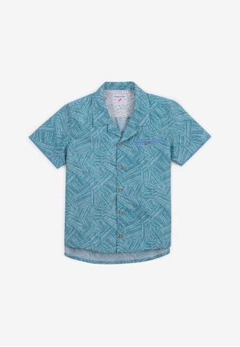 Gingersnaps green Boys Safari Stripes Panaman Short Sleeves Shirt 7E87CKA17A464EGS_1
