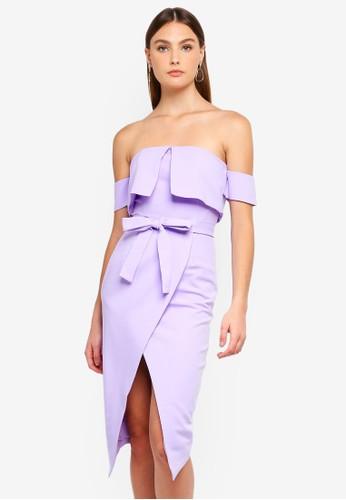 Lavish Alice purple Ponte Double Layer Bardot Wrap Midi Dress 98AC6AA4D6F54EGS_1