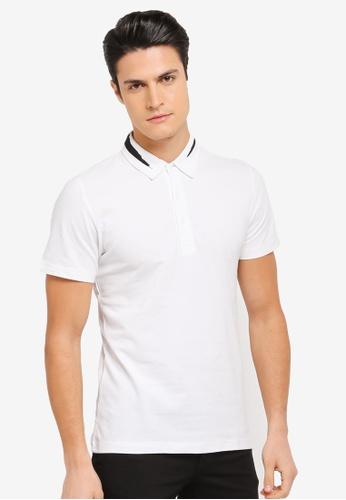 ZALORA white Printed Brushstroke Collar Polo 8C848AA8233430GS_1