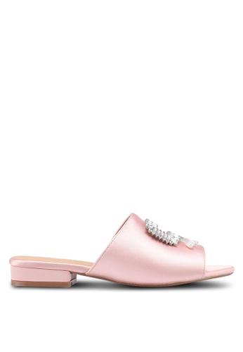 Public Desire 粉紅色 綢緞水晶鑽飾拖鞋 DC00CSH3F520C5GS_1