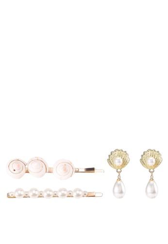 Red's Revenge white 3-in-1 Seashell Hair Clip & Earring Set 2DE74AC8595597GS_1