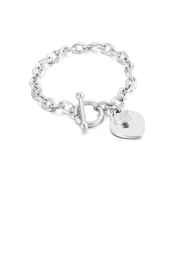Glamorousky white Fashion Simple Heart Shaped 316L Stainless Steel Bracelet with Cubic Zirconia 77B98AC76C8023GS_1