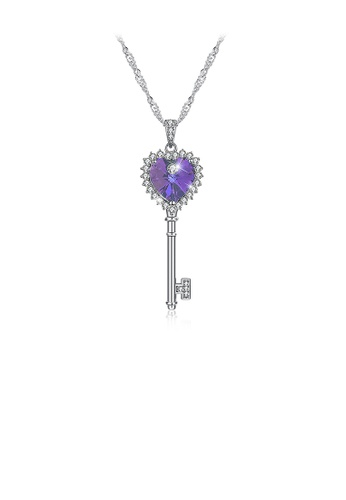 Glamorousky white 925 Sterling Silver Heart Key Pendant with Purple Austrian Element Crystal and Necklace 4DFE8ACD6942CAGS_1