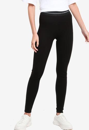 ck Calvin Klein black LIGHTWEIGHT LEGGINGS WITH ELASTIC LOGO F9864AAA2E4535GS_1